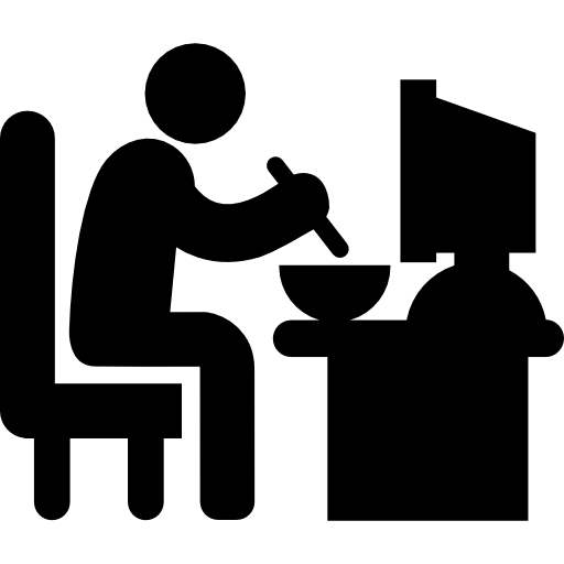 Man Sitting In His Job Desk Eating Lunch Free Vector Icons