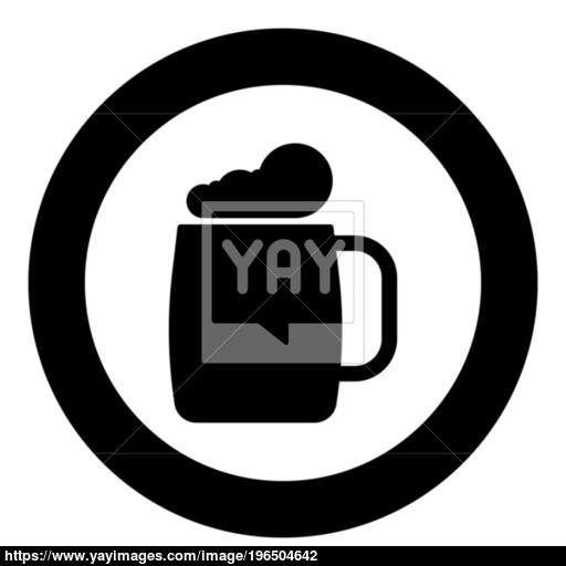 Glass Of Beer The Black Color Icon In Circle Or Round Vector