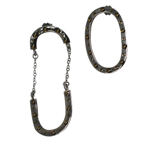 Big Turn Around Rhodium Bronze Earrings