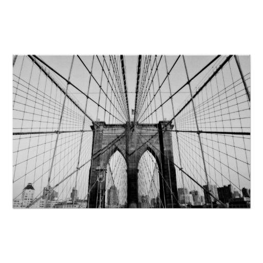 Brooklyn Bridge Black And White Poster Brooklyn Bridge