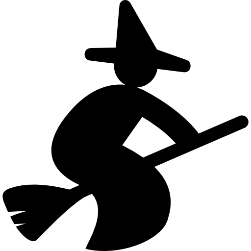 Halloween Witch On Broom Icons Free Download