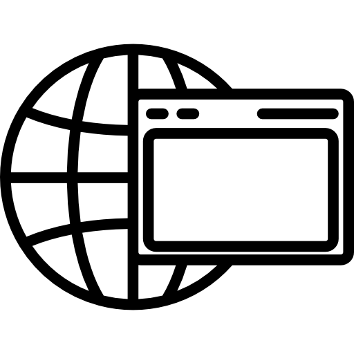 World Grid And A Browser Window Inside A Circle Icons Free Download
