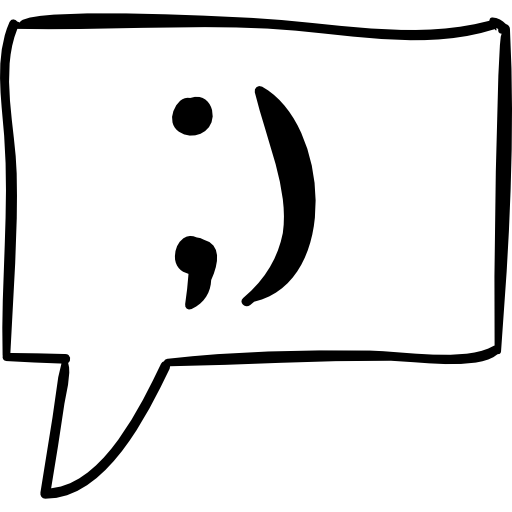 Winking Face In Message Speech Bubble Sketch Icons Free Download