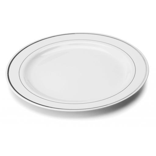 White Silver Rim Mozaik Strong Reuseable Hard Plastic Dinner