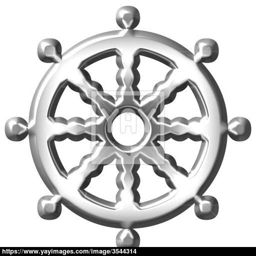 Silver Buddhism Symbol Wheel Of Dharma Image