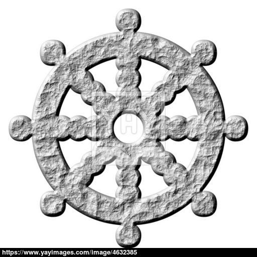 Stone Buddhism Symbol Wheel Of Dharma Image