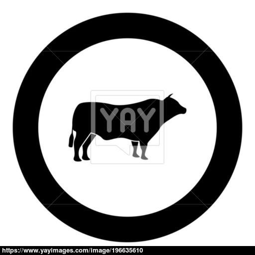 Bull Black Icon In Circle Vector Illustration Vector