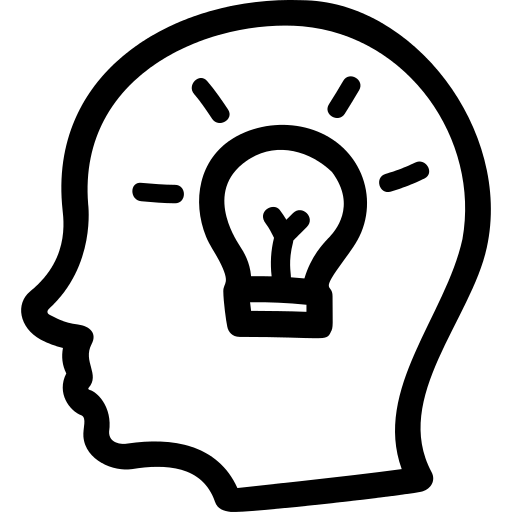 Idea Hand Drawn Symbol Of A Side Head With A Lightbulb Inside Png
