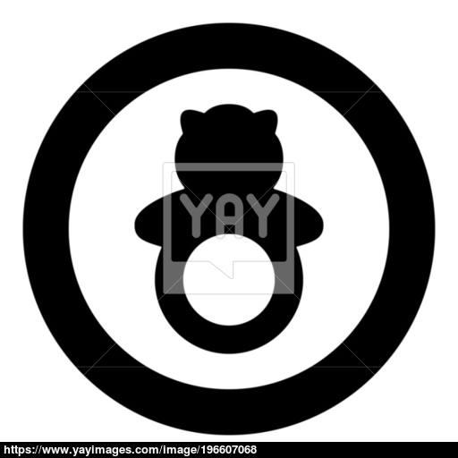 Rattle Black Icon In Circle Vector Illustration Isolated Vector