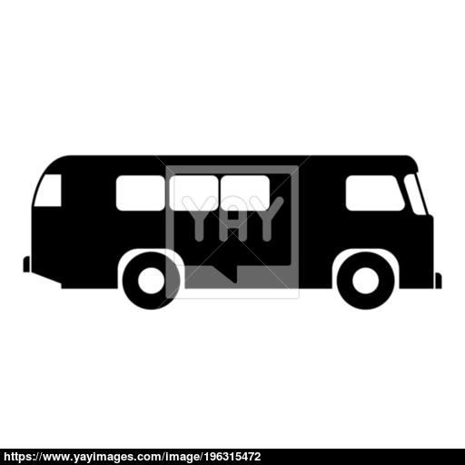 Retro Bus Icon Black Color Illustration Flat Style Simple Image