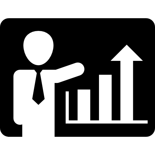 Businessman Presenting Ascending Bars Graphic Of Improving
