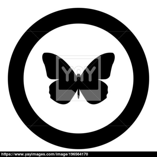 Butterfly Icon Black Color In Circle Vector