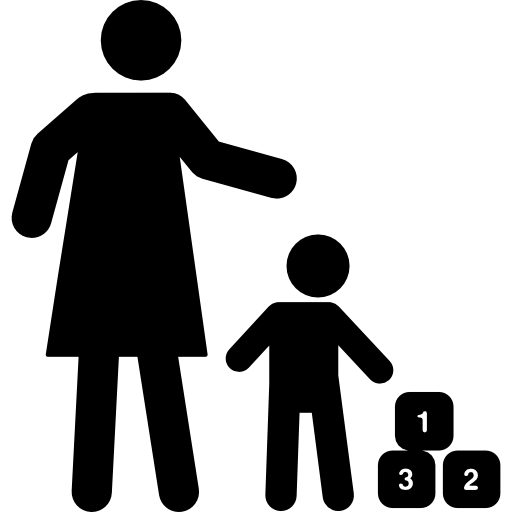 Mother And Son Playing With Cubes Free Vector Icons Designed