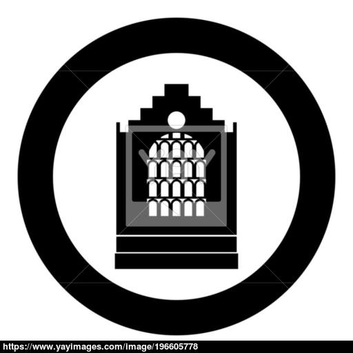 Church Building Black Icon In Circle Vector Illustration Isolated