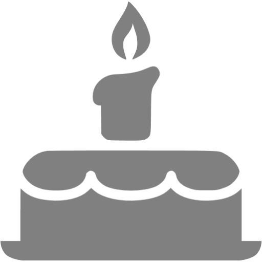 Gray Birthday Cake Icon