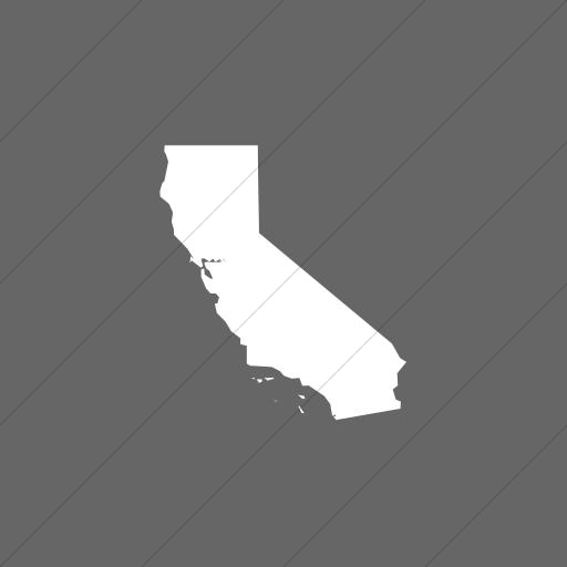 Flat Square White On Gray Us States California Icon
