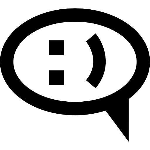 Oval Speech Bubble With Smiling Signs Inside Icons Free Download