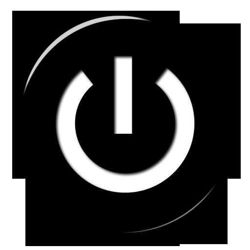 Black White Power Button Icon