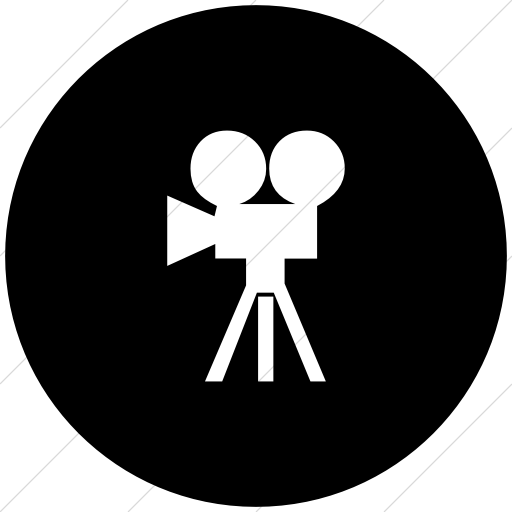 Flat Circle White On Black Classica Movie Camera Icon