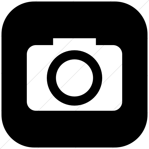 Flat Rounded Square White On Black Raphael Camera Icon