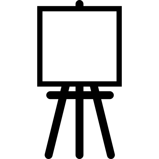 Painter Easel With Square Canvas Icons Free Download
