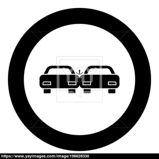 Crashed Cars Icon Black Color In Circle Vector