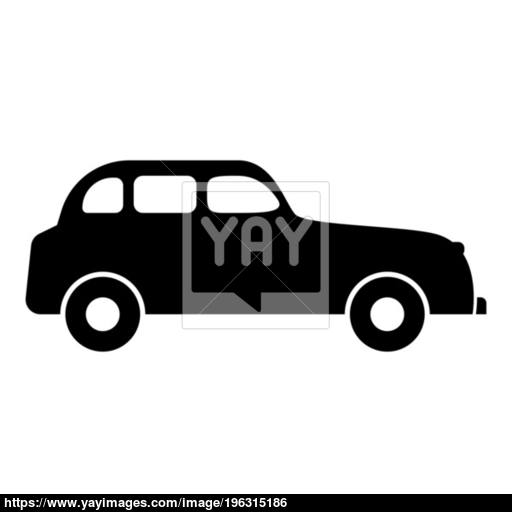 Retro Car Icon Black Color Illustration Flat Style Simple Image
