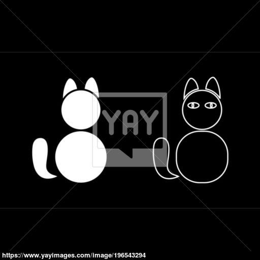 Cat Icon Set White Color Illustration Flat Style Simple Image