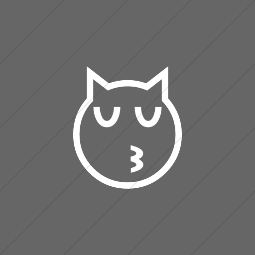 Flat Square White On Gray Classic Emoticons Kissing Cat
