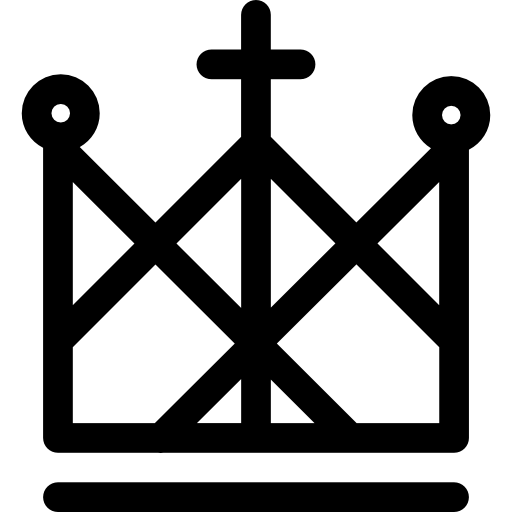 Royal Crown Of Lines Design With A Catholic Cross On Top Icons