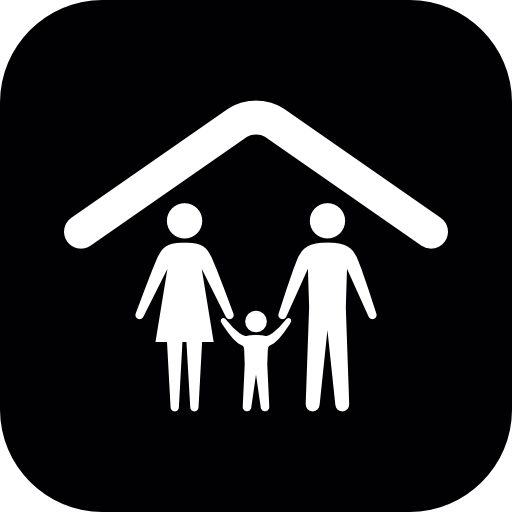 Family Group Of Three Under A Ceiling Line Inside A Rounded Square