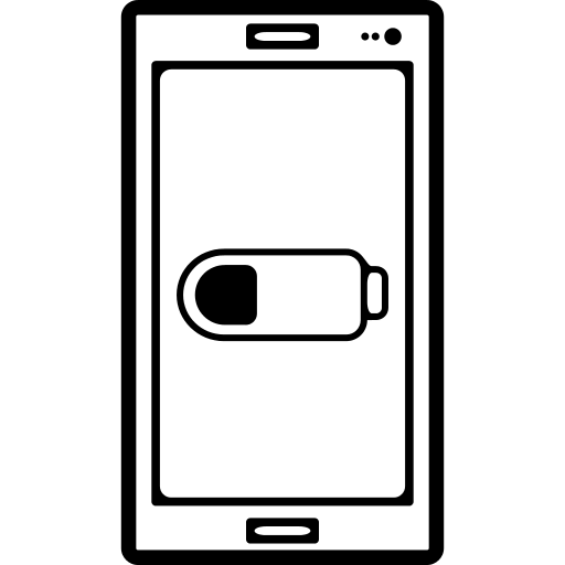 Cellphone With Battery Status Symbol On Screen Png Icon