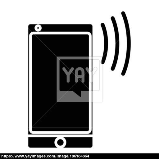 Flat Black Cellphone Icon Vector