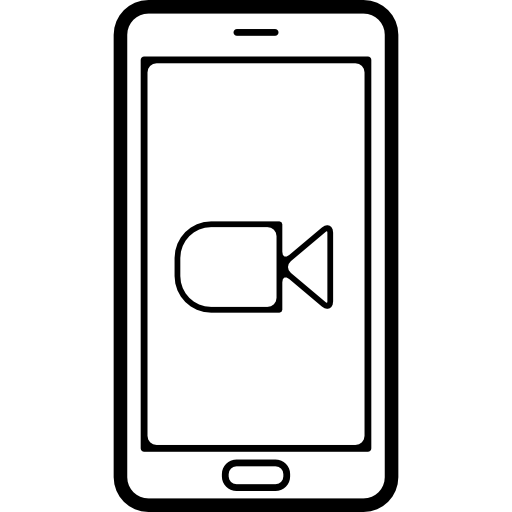 Mobile Phone With Video Camera Symbol On Screen