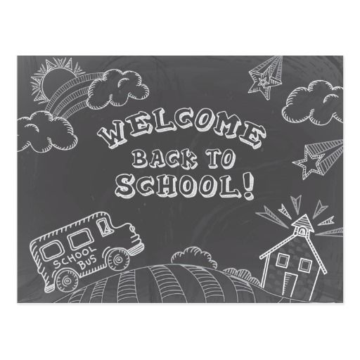 Chalkboard Welcome Back To School Postcard Board