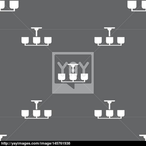 Chandelier Light Lamp Icon Sign Seamless Pattern On A Gray