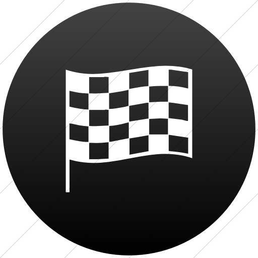 Flat Circle White On Black Gradient Classica Chequered