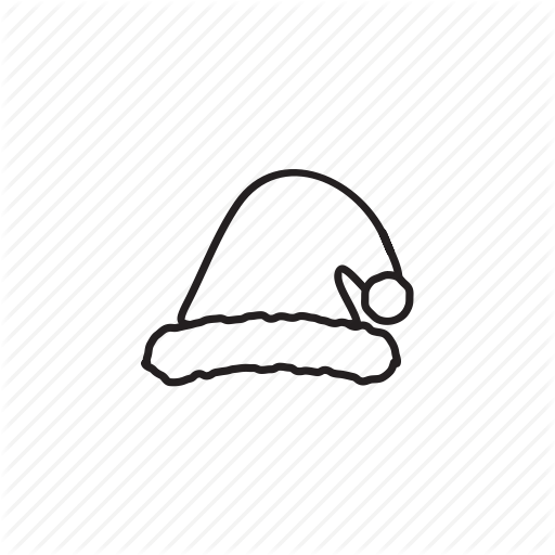 And, Christmas, Elements, Pack, Santa Hat, White Icon