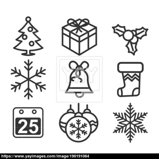 Christmas Icons, Thin Line Style Vector Iconic Design Vector