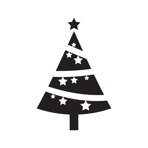 Christmas Tree Ornamented With Stars Free Vector Icons Designed