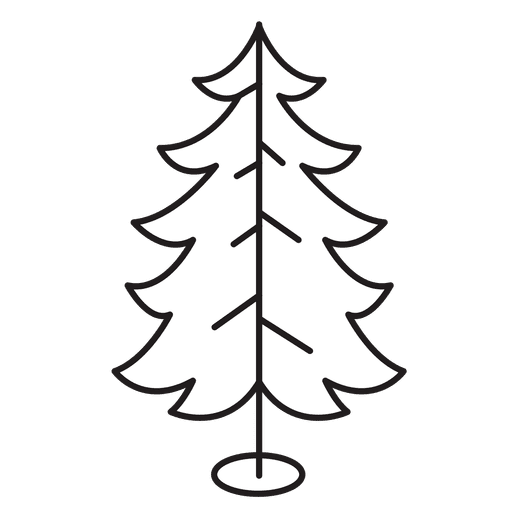 Christmas Tree Curled Branches Stroke Icon