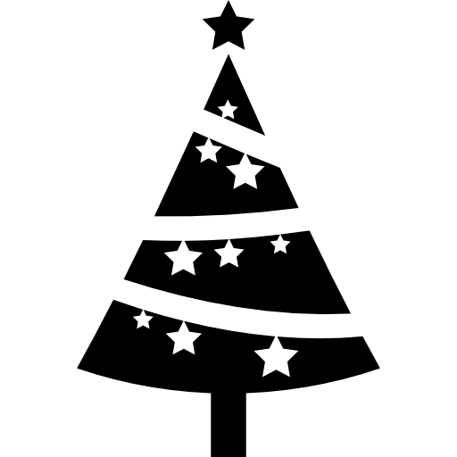Christmas Tree Ornamented With Stars