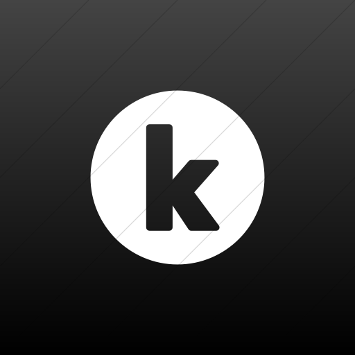 Flat Square White On Black Gradient Encircled Solid K Icon