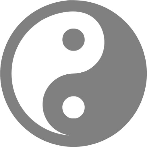 Gray Yin Yang Icon