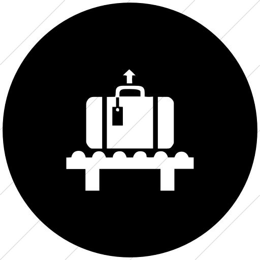 Flat Circle White On Black Classica Baggage Claim Icon