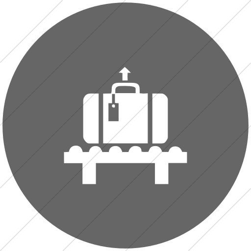 Flat Circle White On Gray Classica Baggage Claim Icon