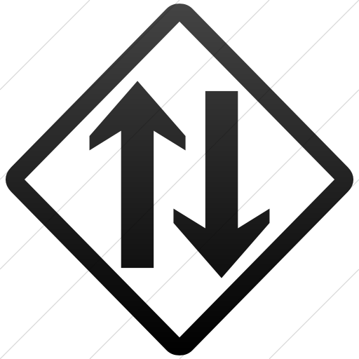 Simple Black Gradient Classica Two Way Traffic Clear Icon