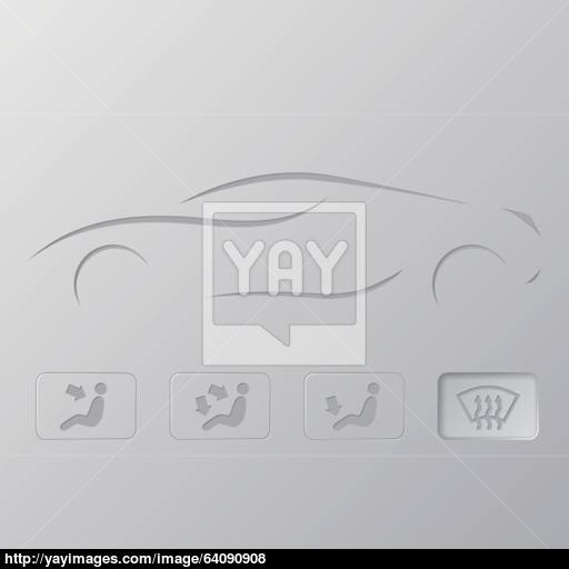Car Silhouette With Flat Icons Vector
