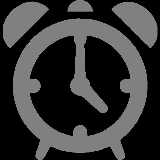 Gray Alarm Clock Icon