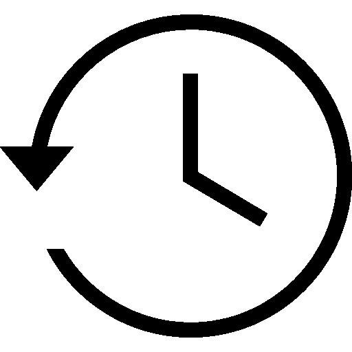 Clock Symbol With Counterclockwise Back Circular Rotating Arrow